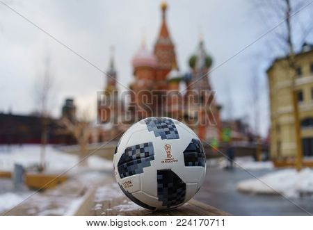 January 22, 2018. Moscow, Russia. The official ball of the FIFA World Cup 2018 Adidas Telstar 18 against the backdrop of the Moscow Kremlin.