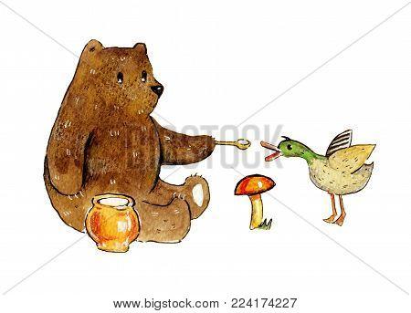 Hand drawn watercolor illustration of bear fiding duck for children design