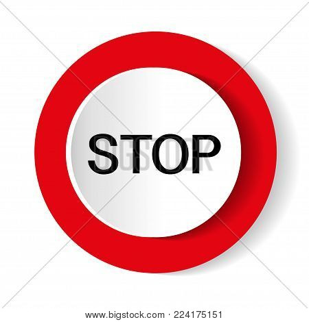Stop vector icon.Glossy stop sign button for web applications. vector format