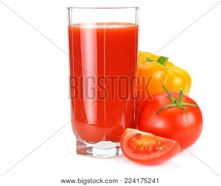 Tomato Juice Isolated On White Background. Juice In Glass