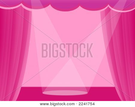 Pink Curtains With Light On Stage