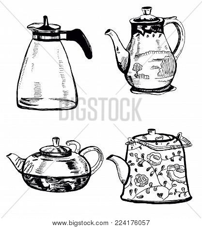 Hand drawn black and white  ink illustration sketch of kettles