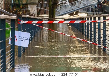 Flooded Area Forbidden Access To The Public