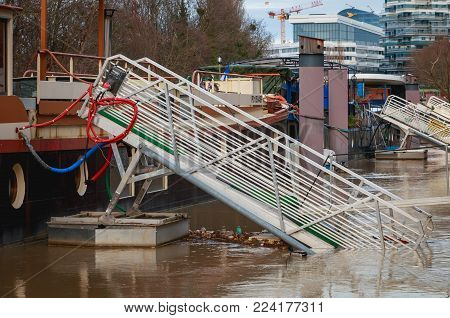 Difficult Access To Barges Along The River Seine