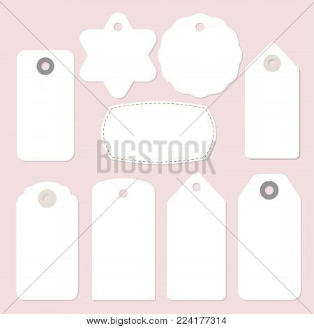 Set of blank paper vintage frames, gift and price tags and labels, solated vector objects.