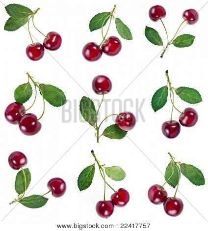Collection Cherries isolated