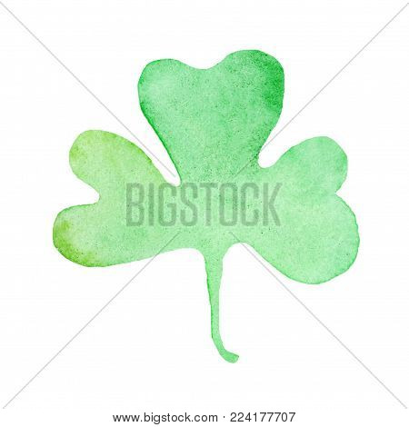 Wet Watercolor Four leaf clover. Abstract Saint Patrick day  watercolour hand painted holiday symbol