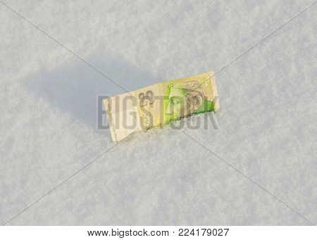 Banknote Of Twenty Slovakian Krones Withdrawn From Circulation Dropped Down To The Snow