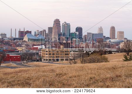 Kansas City, Missouri, USA 1-21-2018: Skyline of Kansas City, Missouri at dusk.