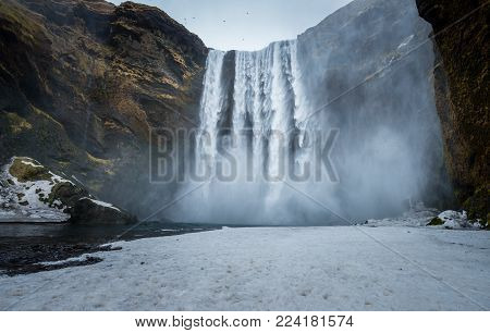 Skogafoss waterfall one of the best known waterfalls in southern Iceland.