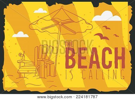 Beach Summer  Poster Design With Beach Lounge Deck Chair Sunbed Beach Umbrella And A Glass Of Beverage  Illustrations. Vector Graphic.