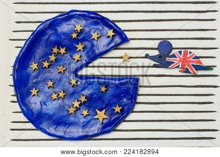 British mouse ate a piece of European pizza concept  disintegration European Union