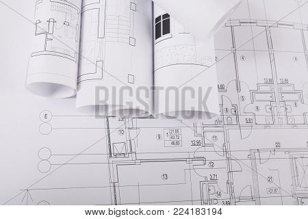 Plans of building. Architectural project background. Floor plan designed building on drawing, copy space