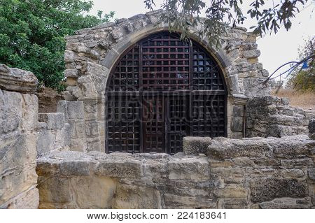 Front view of the ancient tiny chapel of  St. Stephen, near the village of Pachna in Cyprus.