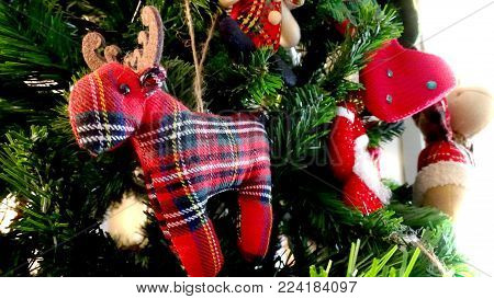 Christmas Decorations On Pine Tree. Christmas Background.