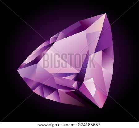 Vector shiny beautiful violet faceted amethyst on dark background