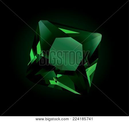 Vector beautiful green faceted shiny Emerald on dark background
