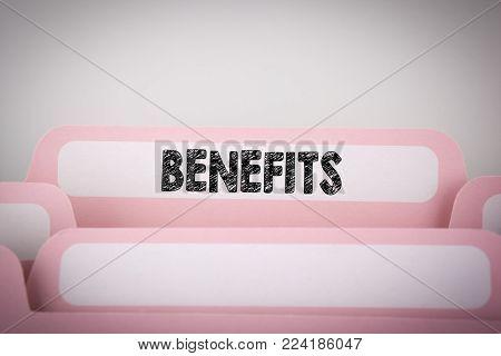 Benefits. Word on Folder Register. business background.