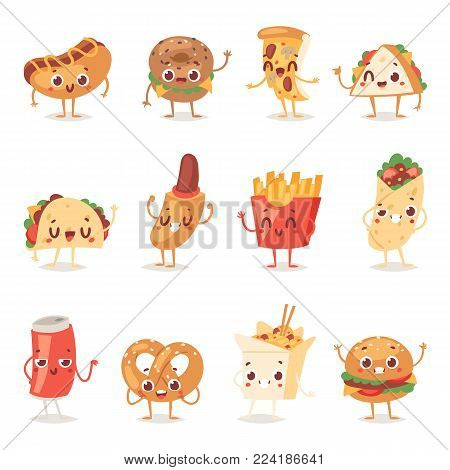 Fast food smile vector cartoon expression characters of hamburger or cheeseburger with fast-food emotion of burger or hot dog emoticon icons and soda drink emoji illustration isolated on background.