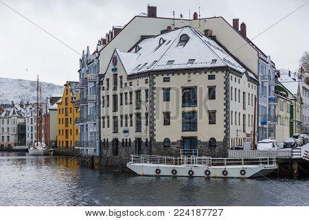 Boats In The Port Of Alesund. Winter Landscape.