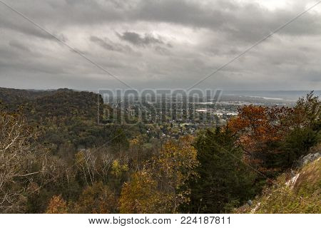The view of the Wisconsin Landscape from Grandad Bluff in Autumn
