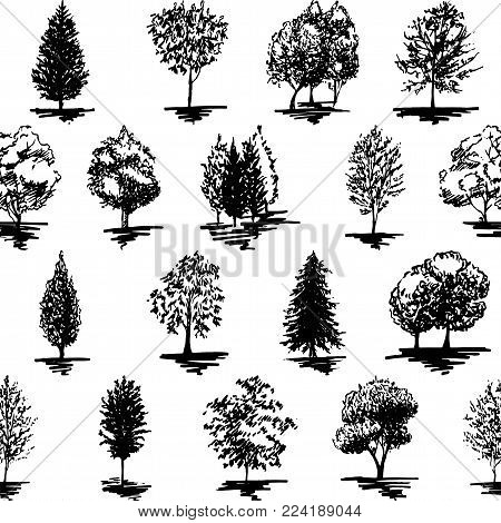 Monochrome black and white tree silhouette sketched line art seamless pattern background vector