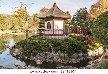 Bloomington, MN/USA - October 22, 2016: The Japanese Garden at Normandale Community College in Bloomington, Minnesota.