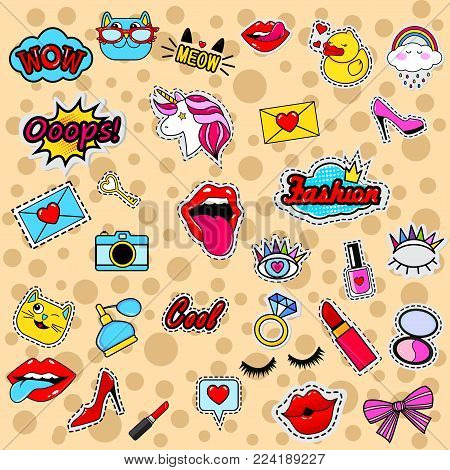 Fashion patch badges with lips, eyes, hearts, rings, diamond, speech bubbles, pomade,unicorn, lipstick and other elements. Very large set of girlish stickers, patches in cartoon isolated
