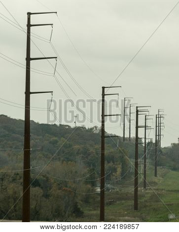 F-shaped utility poles along a highway in Southern Minnesota