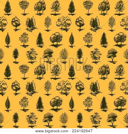 Monochrome orange and green tree silhouette sketched line art seamless pattern background vector