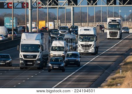 Redborn, UK - January 25, 2018: Traffic on British motorway M1
