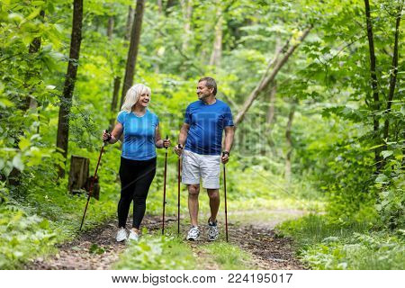 Elderly couple enjoying summer walk in the forest. Sportive lifestyle. Active retirement.
