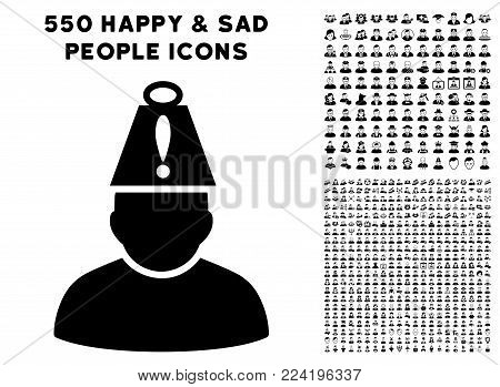 Head Stress icon with 550 bonus sad and glad user design elements. Vector illustration style is flat black iconic symbols.