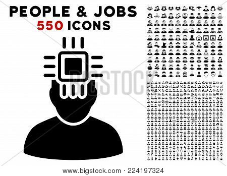 Neuro Interface icon with 550 bonus pitiful and happy person symbols. Vector illustration style is flat black iconic symbols.