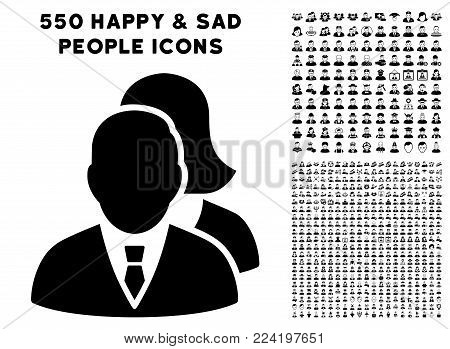 People icon with 550 bonus pity and happy people pictograms. Vector illustration style is flat black iconic symbols.