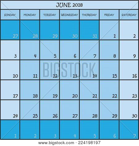 CALENDAR PLANNER MONTH JUNE 2018 ON THREE SHADES OF BLUE COLOR BACKGROUND