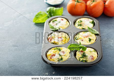 Healthy egg muffins, mini frittatas with tomatoes and greens topped with grated parmesan with copy space