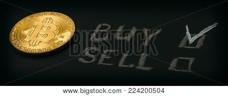 Golden bitcoin coin - symbol of cryptocurrency and words BUY or SELL on black background, panoramic photo, toned