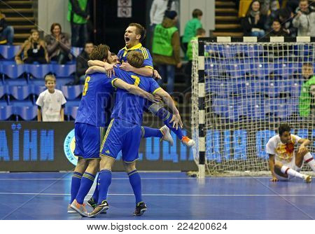 KYIV, UKRAINE - JANUARY 29, 2017: Ukrainian players react after scored a goal during their friendly Futsal match against Spain at Palats of Sports in Kyiv, Ukraine