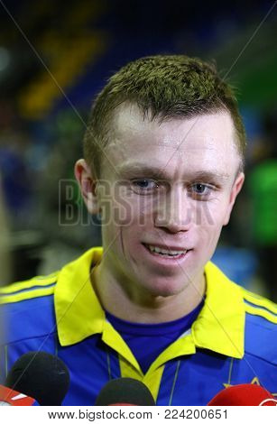 KYIV, UKRAINE - JANUARY 29, 2017: Oleksandr Pedyash of Ukraine gives an interview after the friendly Futsal match against Spain at Palats of Sports in Kyiv, Ukraine
