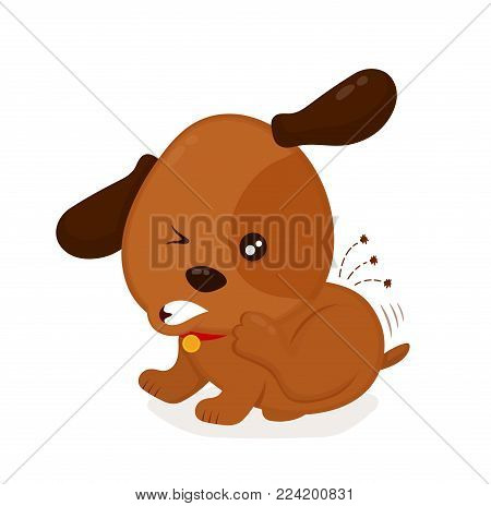 Cute angry itchy dog scratches fleas off. Domestic or stray dog with skin parasites. Vector flat cartoon character illustration icon. Isolated on white background