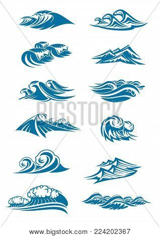 Water waves and marine wave splashes icons set. Vector isolated ocean or sea wave tide with foam or froth drops, wind surf gale swirls and marine streams or blue water storm ripple flows