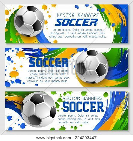 Soccer game banners background templates for football sport team or college league championship design . Vector soccer golden cup award, football ball on of arena stadium and team color flag splash