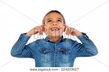 Small child covering his ears isoalted on a white background