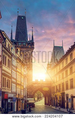 dawn over Prague ,Charles bridge ,Lesser Bridge Tower