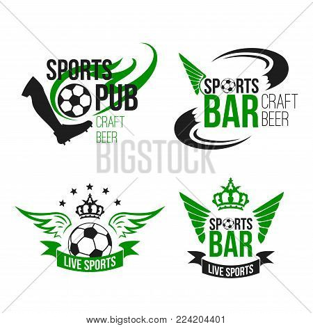 Soccer sports pub or football fan club beer bar icons templates. Vector isolated symbols of beer drink and football ball or soccer cup wings for live team league championship or game tournament