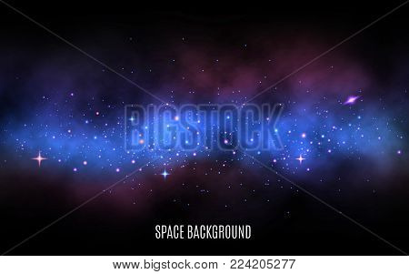 Space background. Milky way with colorful stars. Blue nebula and stardust. Galaxy background with shining stars. Trendy vector illustration.