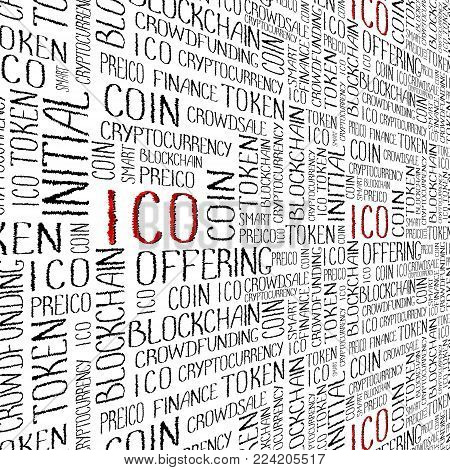 ICO Initial coin offering, startup crowdfunding, blockchain technology texture. ICO concept words pattern on white background.