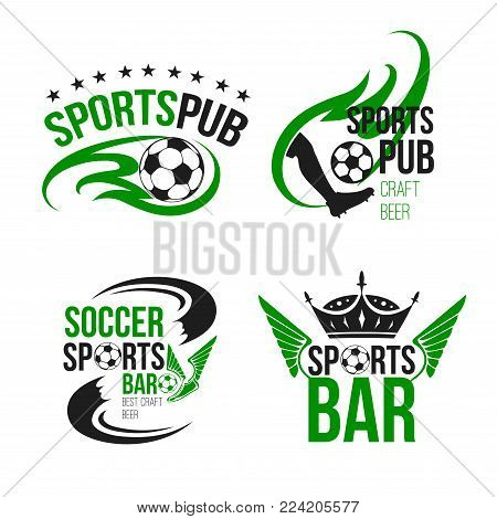 Soccer sports pub icons templates for football fan club beer bar. Vector isolated symbols of beer drink and football ball or soccer cup wings and champion crown or player foot for team league championship