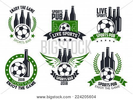 Soccer live game icons of football ball for sports pub or fan club beer bar. Vector isolated symbols of beer drink bottles in crown and laurel, soccer goal or football ball wings for championship